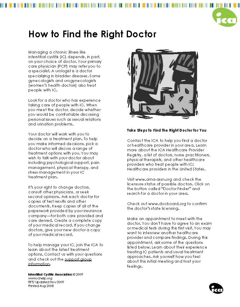 How to Find the Right Doctor (2009) - Interstitial Cystitis Association